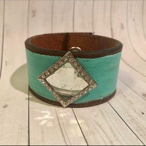 Jewelry - Turquoise Leather Bracelet Boho Gypsy NWOT